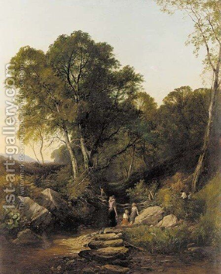 Family gathering water in a wooded landscape by Henry John Boddington - Reproduction Oil Painting