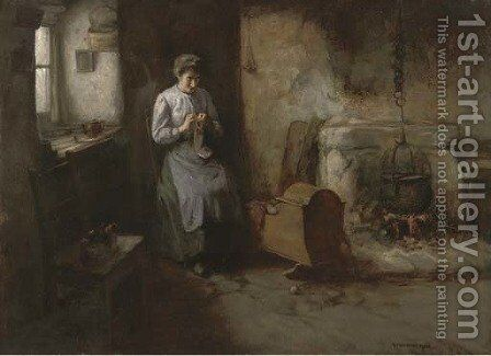 Knitting socks, a mother and baby in a kitchen interior by Henry John Dobson - Reproduction Oil Painting