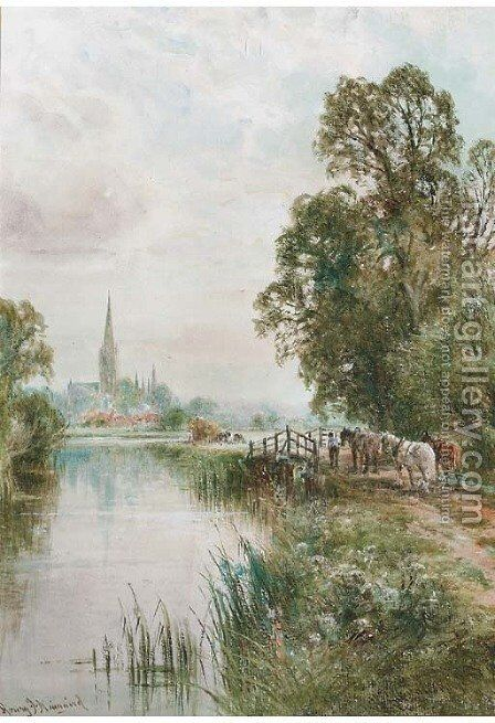 Harvesters before Salisbury Cathedral by Henry John Kinnaird - Reproduction Oil Painting