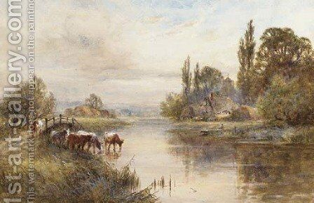 Cattle on the banks of a river by Henry John Kinniard - Reproduction Oil Painting