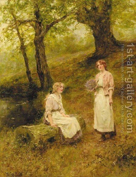 A rest in the bluebell woods by Henry John Yeend King - Reproduction Oil Painting
