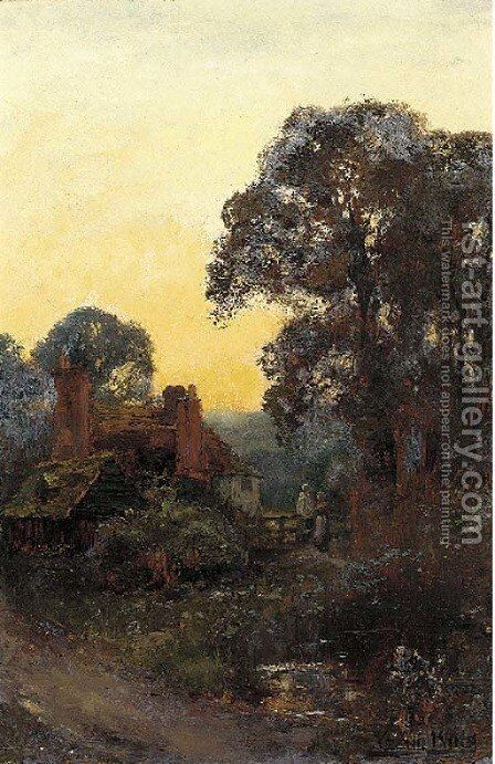 Figures by a cottage at sunset by Henry John Yeend King - Reproduction Oil Painting