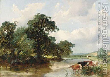 Cattle watering in a wooded river landscape by Henry Jutsum - Reproduction Oil Painting