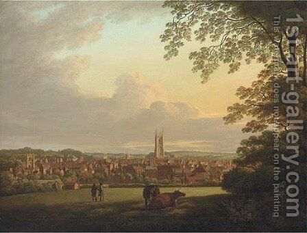 A extensive view of Derby, with figures and cattle in the foreground by Henry Lark Pratt - Reproduction Oil Painting