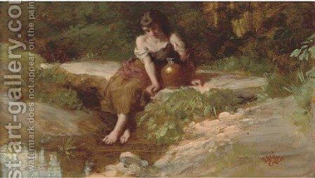 Resting at the stream by Henry Le Jeune - Reproduction Oil Painting