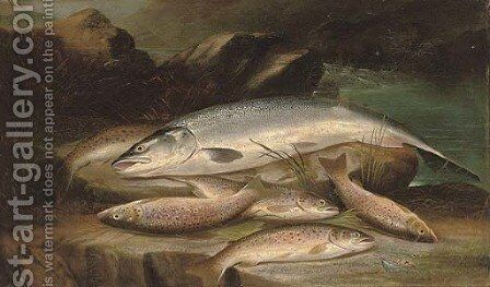 A successful days fishing by Henry Leonidas Rolfe - Reproduction Oil Painting