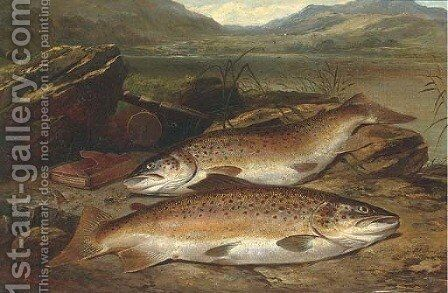 Brown trout on a river bank by Henry Leonidas Rolfe - Reproduction Oil Painting