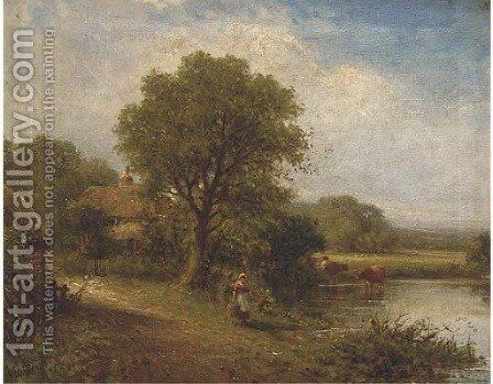 A young woman by a pool with cattle watering and a cottage beyond by Henry Maidment - Reproduction Oil Painting