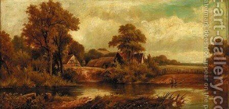 Figures On The Edge Of A Riverbank by Henry Maidment - Reproduction Oil Painting