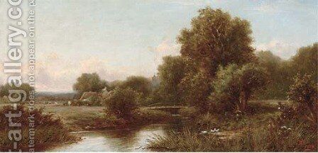 A tranquil stretch of the river by Henry Maidment - Reproduction Oil Painting