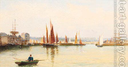 Shipping In A Harbour by Henry Martin - Reproduction Oil Painting