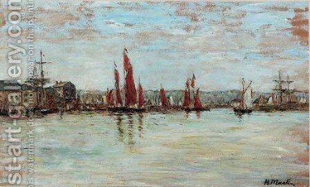 Ships in harbour by Henry Martin - Reproduction Oil Painting