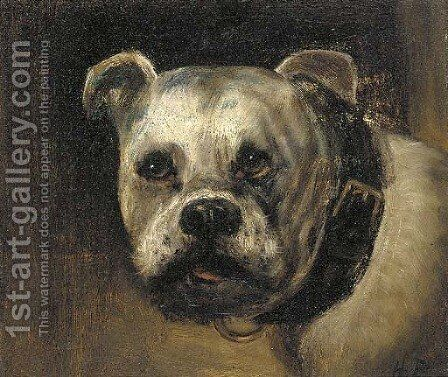A bulldog by Henry Maurice Page - Reproduction Oil Painting