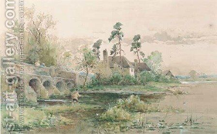 Fly fishing by a bridge by Henry Maurice Page - Reproduction Oil Painting
