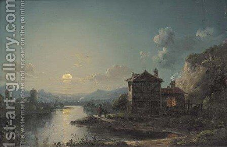 Figures by a cottage in a moonlit river landscape by Henry Pether - Reproduction Oil Painting