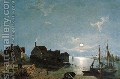 Moonlight - Leigh near Southend by Henry Pether - Reproduction Oil Painting