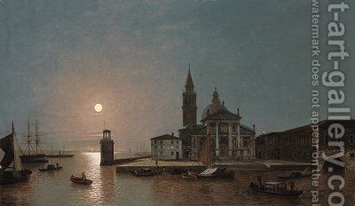 View of San Giorgio Maggiore, Venice, by moonlight by Henry Pether - Reproduction Oil Painting