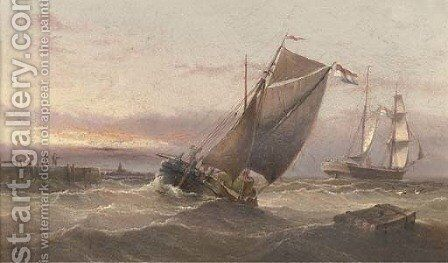 A Dutch brig running out of harbour amidst other traffic at dusk by Henry Redmore - Reproduction Oil Painting