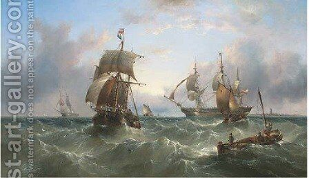 An Austrian merchantman dropping the pilot off Spurn Head, after leaving Hull by Henry Redmore - Reproduction Oil Painting