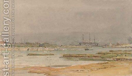 A calm day on the estuary at Portsmouth by Henry Robert Robertson - Reproduction Oil Painting