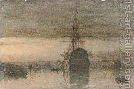 A Third Rate and a hulk lying in Portsmouth Harbour at dusk by Henry Robert Robertson - Reproduction Oil Painting