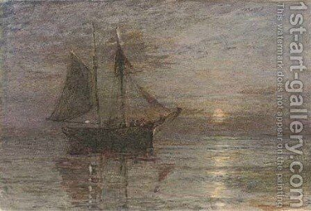 A trading brig in a calm by moonlight by Henry Robert Robertson - Reproduction Oil Painting