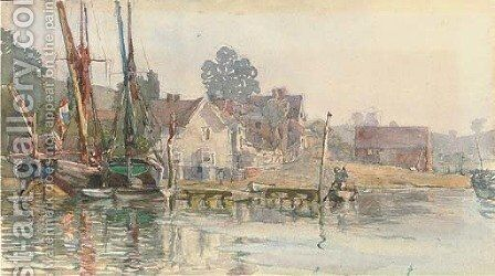 Pin Mill, Suffolk by Henry Robert Robertson - Reproduction Oil Painting