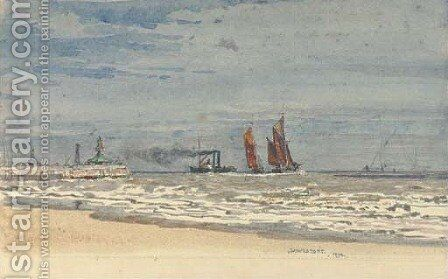 Shipping off the pier at Lowestoft by Henry Robert Robertson - Reproduction Oil Painting