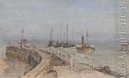 Towing the fishing fleet into port by Henry Robert Robertson - Reproduction Oil Painting