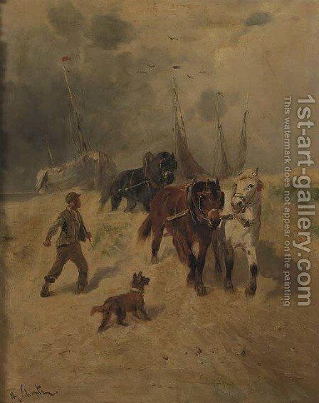 A team of horses on the beach, fishing-smacks in the background by Henry Schouten - Reproduction Oil Painting
