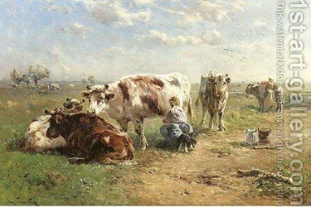 Milking the cows by Henry Schouten - Reproduction Oil Painting