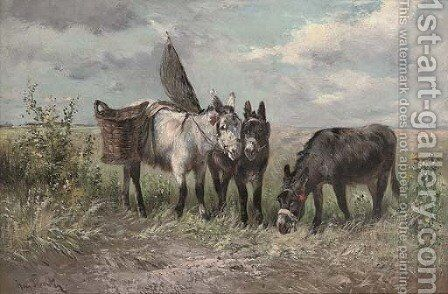 The fisherman's donkeys by Henry Schouten - Reproduction Oil Painting
