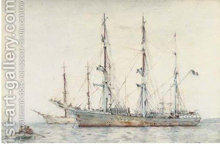 Grey day in the harbour by Henry Scott Tuke - Reproduction Oil Painting