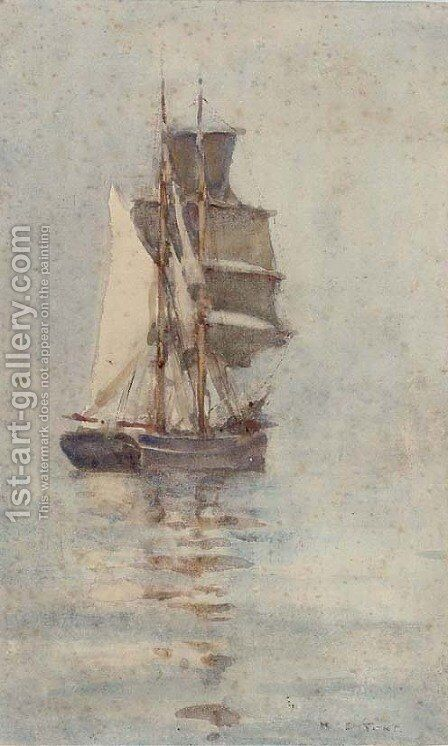 A brigantine in light airs by Henry Scott Tuke - Reproduction Oil Painting