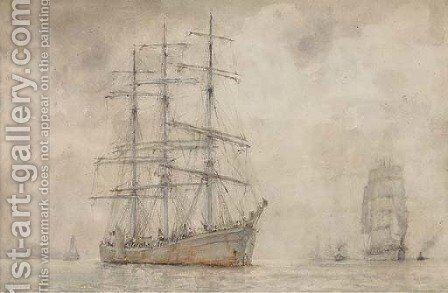 A windjammer lying at anchor by Henry Scott Tuke - Reproduction Oil Painting