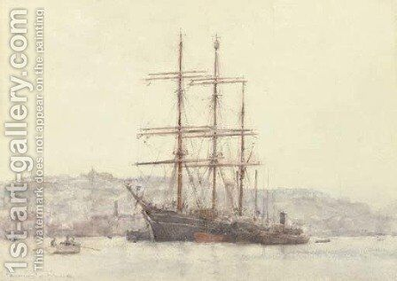 The famous Discovery lying at Falmouth by Henry Scott Tuke - Reproduction Oil Painting