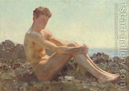 The Sun-bather by Henry Scott Tuke - Reproduction Oil Painting
