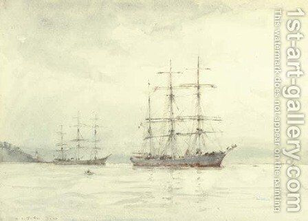 Two windjammers lying at anchor in Falmouth by Henry Scott Tuke - Reproduction Oil Painting
