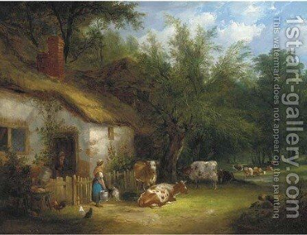 A milkmaid and cattle by a cottage gate by Henry Shayer - Reproduction Oil Painting