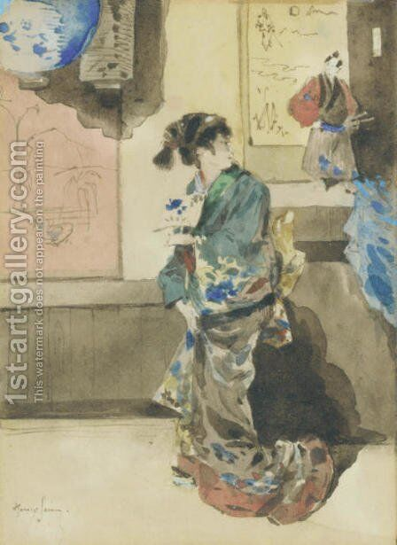 La Japonaise by Henry Somm - Reproduction Oil Painting
