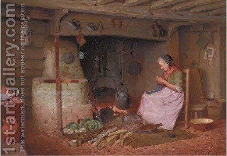 By the fire by Henry Spernon Tozer - Reproduction Oil Painting