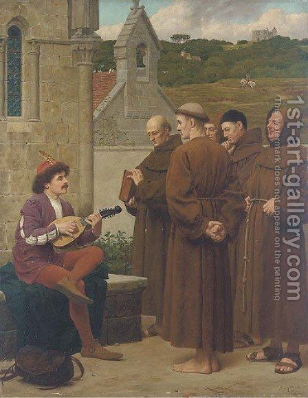 The minstrel, 'A love song for a good life' by Henry Stacy Marks - Reproduction Oil Painting