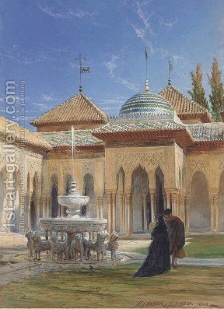 Figures in the courtyard of the Alhambra, Granada by Henry Stanier - Reproduction Oil Painting