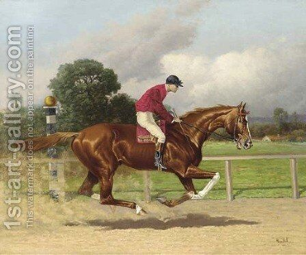 Margrave, Winner of the Preakness Stakes in 1896, with jockey up by Henry Stull - Reproduction Oil Painting