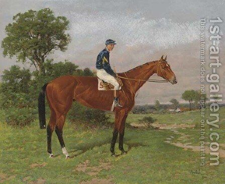 White Crest with jockey up by Henry Stull - Reproduction Oil Painting