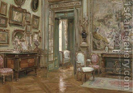 A French salon by Charles Henry Tenre - Reproduction Oil Painting