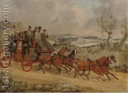 A coach and four in a winter landscape by Henry Thomas Alken - Reproduction Oil Painting