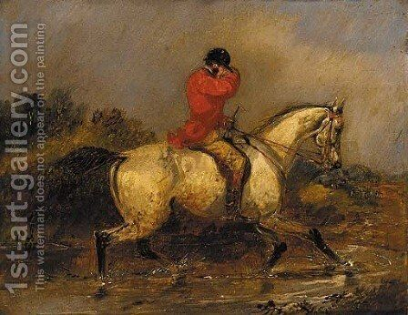 A huntsman crossing a stream by Henry Thomas Alken - Reproduction Oil Painting