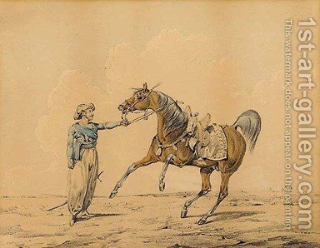 An Arab horse in a landscape by Henry Thomas Alken - Reproduction Oil Painting