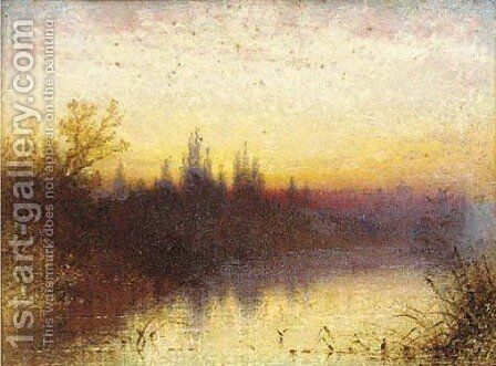 Sunset on the Thames, near Windsor by Henry Thomas Dawson - Reproduction Oil Painting